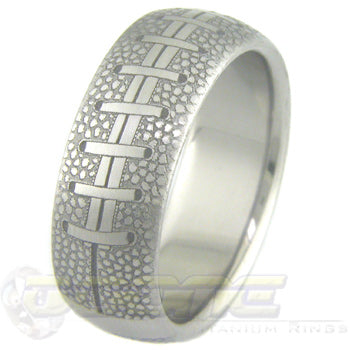 football design laser engraved into titanium ring