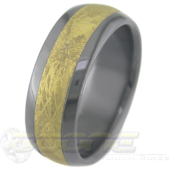 dome profile black zirconium ring with gold meteorite inlay