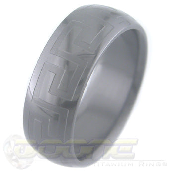 greek key design laser engraved on black zirconium ring with black on black motif known as stealth
