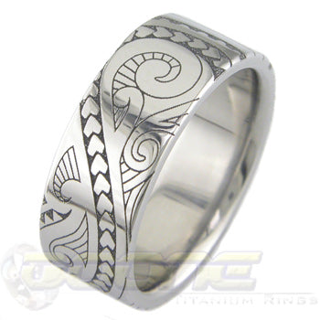 hawaiian design laser engraved into titanium ring