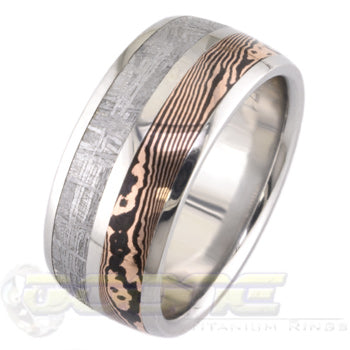dome profile titanium ring with meteorite and mokume inlays