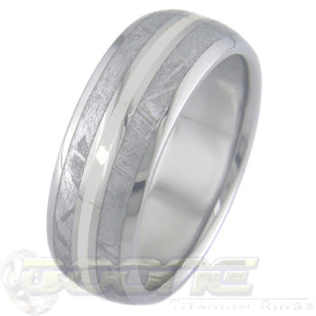 dome profile titanium ring with twin meteorite inlays on outer edges and platinum inlay in center