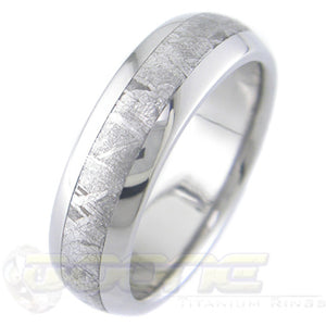 titanium dome profile ring with meteorite inlay