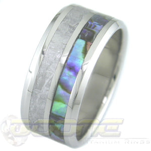 flat profile titanium ring with meteorite and abalone inlays