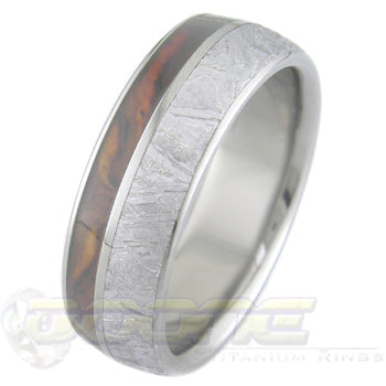dome profile titanium ring with wide meteorite inlay and thin wood inlay