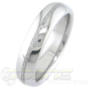 dome profile titanium ring with thin meteorite inlay