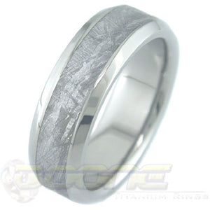 dome profile titanium ring with meteorite inlay and bevels