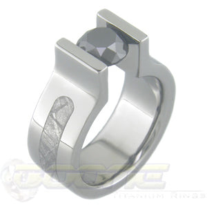 titanium bookends tension set ring with meteorite inlay