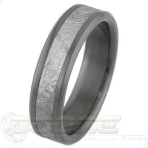 flat profile black zirconium ring with meteorite inlay and bevels
