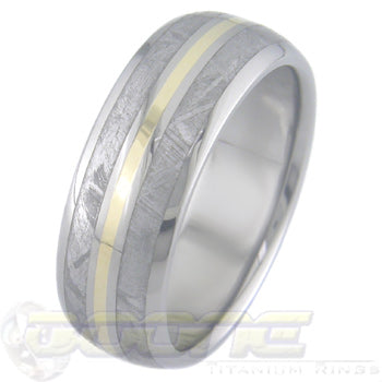 dome profile titanium ring with dual outer meteorite inlays and center gold inlay