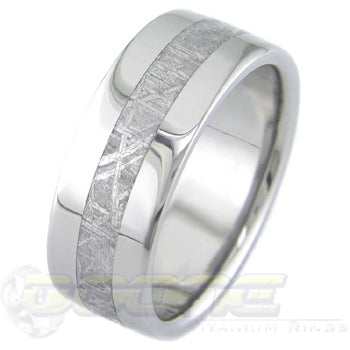 flat profile titanium ring with meteorite inlay