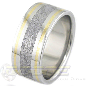 flat profile titanium ring with dual outer gold inlays and center meteorite inlay