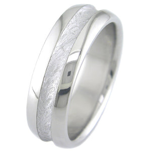 dome profile titanium ring with mid channel meteorite inlay