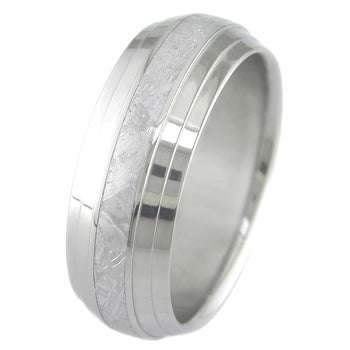 dome profile multi step titanium ring with meteorite inlay