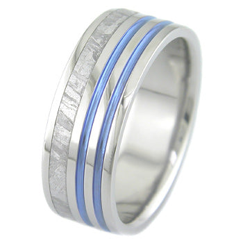 flat profile titanium ring with offset meteorite on one side and twin blue stripes on opposite side