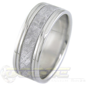 flat profile quad groove titanium ring with meteorite inlay