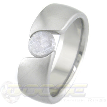 titanium s-curves tension set ring with meteorite stone
