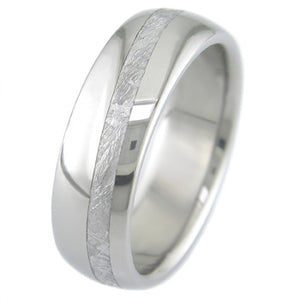 titanium dome profile ring with skewed meteorite inlay