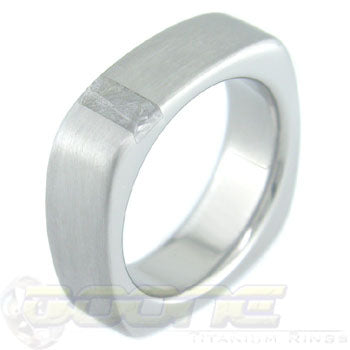 square shaped titanium ring with a small perpendicular meteorite inlay