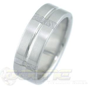 titanium ring with 5 perpendicular meteorite inlays around the circumference of the ring