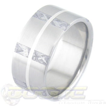 titanium ring with 7 stripes of meteorite around the circumference of the ring