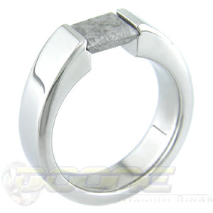 titanium tension set ring with square meteorite stone