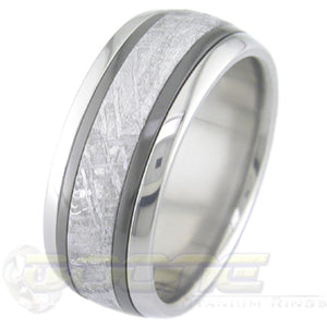 titanium or cobalt chrome ring with twin inlays of black zirconium and a center inlay of meteorite