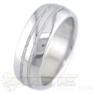 titanium ring with twin 1mm center inlays of meteorite