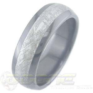 dome profile black zirconium ring with meteorite inlay