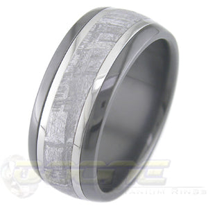 black zirconium ring with twin inlays of titanium and a meteorite inlay in center