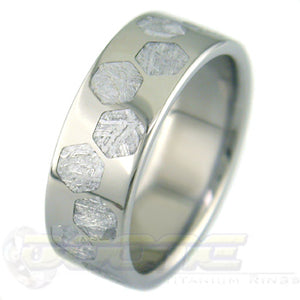 flat profile titanium ring with hex meteorite inlays