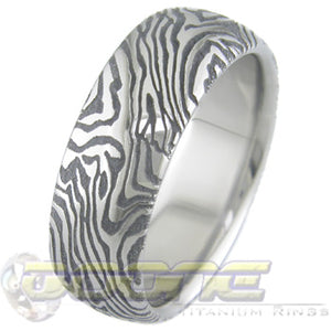 mokume gane look laser engraved in titanium ring known as mokulaze