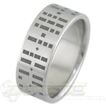 morse code design laser engraved into titanium ring