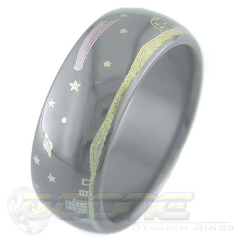 nightscape design laser engraved on black zirconium ring with varied color fades known as chroma