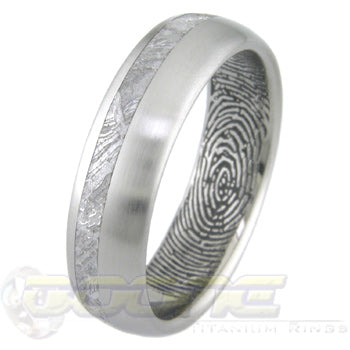titanium ring with offset meteorite inlay and a custom fingerprint on inside of ring
