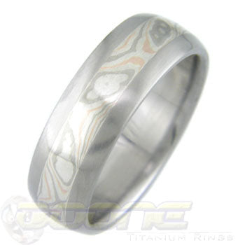 Palladium, Red Gold and Silver Mokume