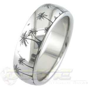 beach paradise design laser engraved into titanium ring