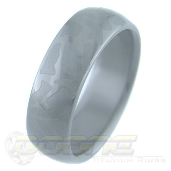path design laser engraved on black zirconium ring with black on black motif known as stealth