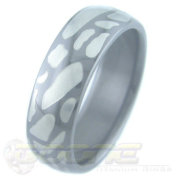 path design laser engraved on black zirconium ring with white on black motif known as tuxedo