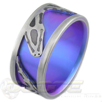 python laser cut into outer ring and laser welded onto inner ring which can be anodized in your choice of color if desired