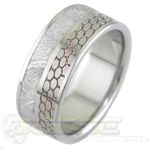 titanium ring 8mm wide with 3mm inlays of meteorite and SuperConductor