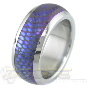 Anodized SuperConductor Inlay in Titanium Dome Ring in 8mm Width