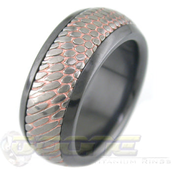 Etched SuperConductor Inlay in Black Zirconium Dome Ring in 8mm Width