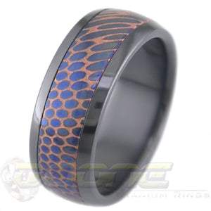 Anodized and Etched SuperConductor Inlay in Black Zirconium Dome Ring in 8mm Width
