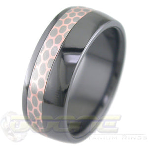 Offset SuperConductor Inlay in Black Zirconium Dome Ring in 8mm Width