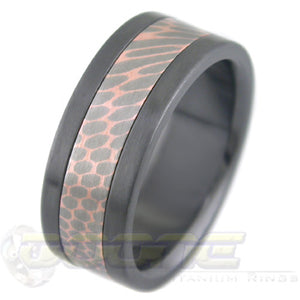 SuperConductor Inlay in Black Zirconium Flat Ring in 8mm Width