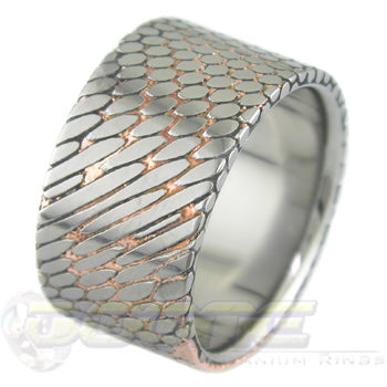 SuperConductor Flat Ring in 12mm Width Etched with Titanium Liner
