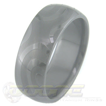 torque design laser engraved on black zirconium ring with black on black motif known as stealth