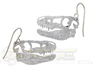 meteorite Tyrannosaurus Rex dinosaur head dangle earrings