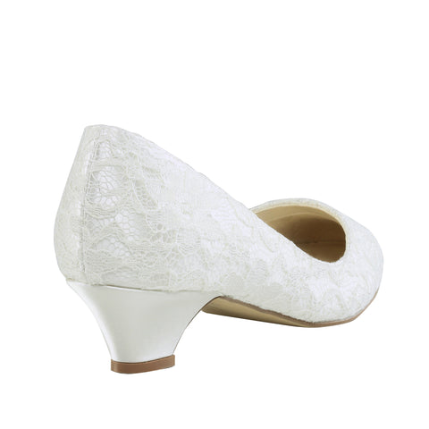 Bon Bon ivory satin & lace, 3cm heel, closed toe wedding shoe - NZ